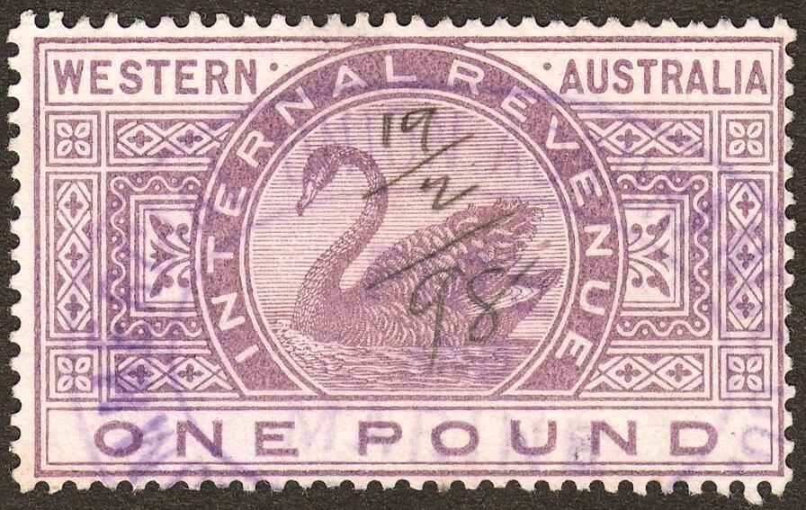 Western_Australia_1898_Internal_Revenue_£1_Swan_stamp